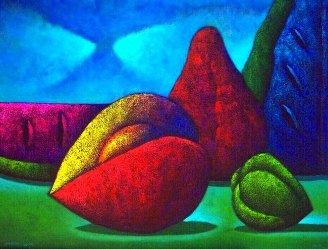 Frutas objetos en el paisaje 100 x 130 cms.jpg
