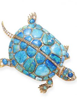Opal, Diamond and Ruby Turtle Brooch, ca. 1870