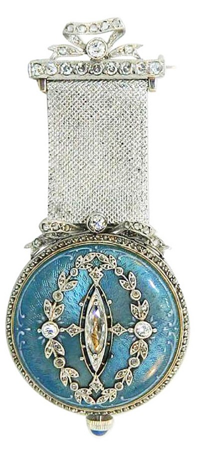 Gold, Diamond and Enamel Lapel Watch by Paul Buhre, ca. 1910