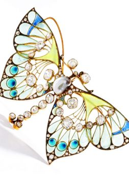 Gold, Diamond, Pearl and Plique-a-Jour Enamel Butterfly Pendant-Brooch, by Henri Vever, ca. 1900