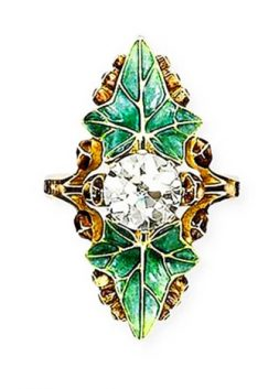 Diamond and Enamel Ring by Lucien Gaillard, ca. 1905