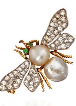 Pearl and Diamond Bee Brooch, Marcus and Co., ca. 1900