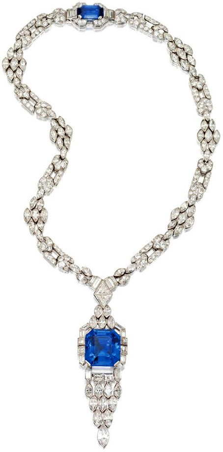 Platinum, Sapphire and Diamond Pendant-Necklace, Lacloche Frères, France, ca. 1925