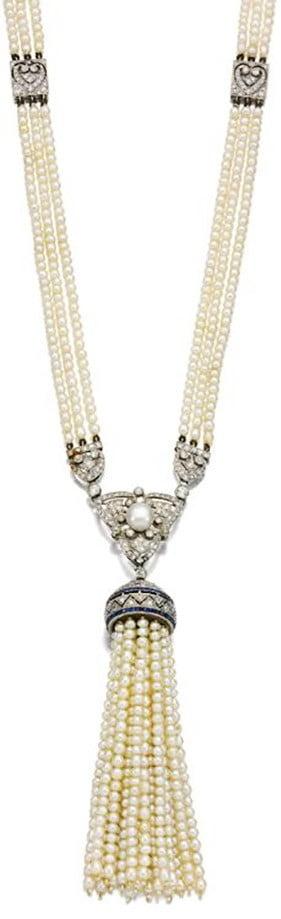 Seed Pearl, Sapphire and Diamond Sautoir, ca. 1910