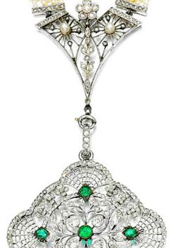 Seed Pearl, Emerald and Diamond Sautoir, ca. 1915