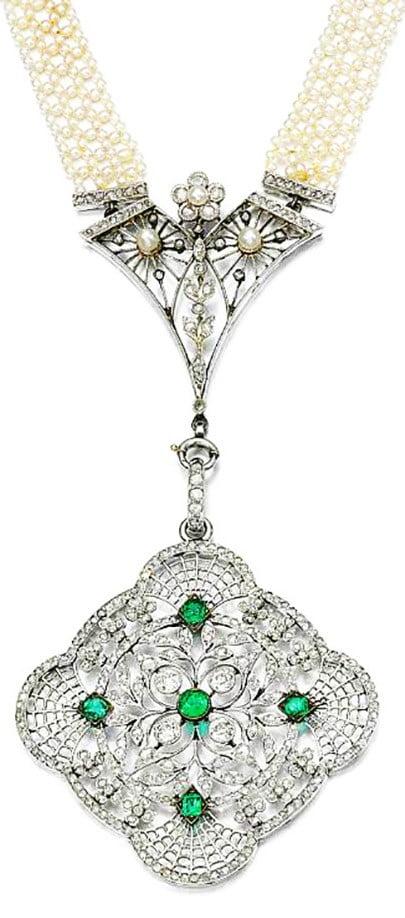 Seed Pearl, Emerald and Diamond Sautoir, ca. 1915
