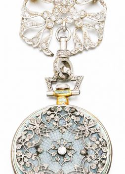 Platinum, Gold, Diamond and Enamel Pendant Watch, Tiffany & Co., ca. 1910