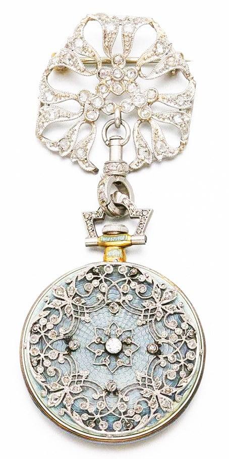 Platinum, Gold, Diamond and Enamel Pendant Watch, Tiffany & Co., ca. 1910