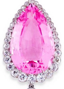 Edwardian Pink Beryl and Diamond Pear-shaped Drop Pendant