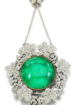 Emerald and Diamond Pendant, ca. 1905
