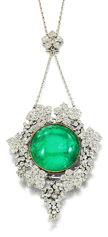 Emerald and Diamond Pendant, ca. 1905