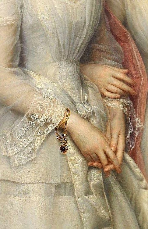 Portrait of the sisters Malvina Anny Louise and Hilda Sophie Charlotte Reventlow, detail