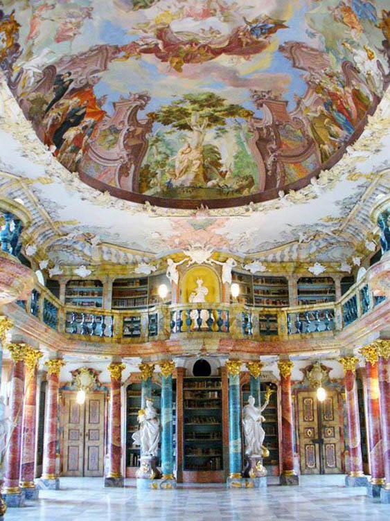 Wiblingen Abbey Library, Ulm, Baden-Wurttemberg Province, Germany