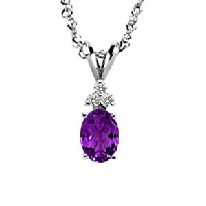 14K White Gold Diamond And Genuine Amethyst Trio Accent Pendant