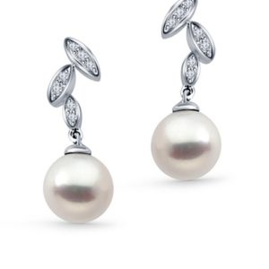 14K White Gold Freshwater Cultured Pearl Earrings With Diamonds