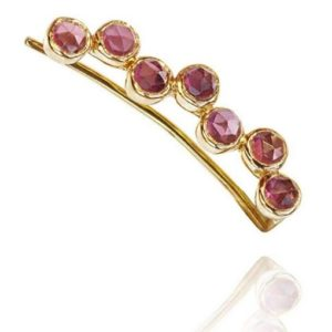 18kt Gold Pink Garnet Ear Cuff Left
