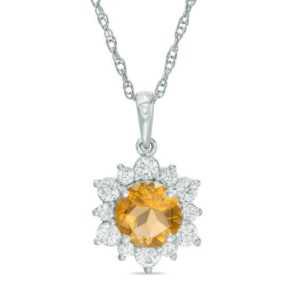 7.0mm Citrine and Lab-Created White Sapphire Sunburst Pendant in Sterling Silver