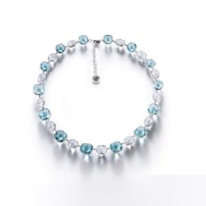 Blue and White Topaz Choker Necklace