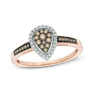 Champagne and White Diamond Cluster Pear-Shaped Frame Ring in 10K Rose Gold