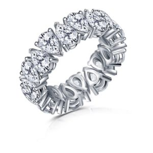 Cinora Eternity Band With Alternating Fancy Pear Cut Diamonds In 14K White Gold