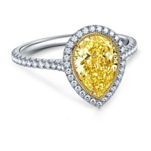 Cinora Fancy Cut Pear Yellow Diamond Halo Engagement Ring In 18K White Gold