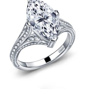 Cinora Marquise Diamond Split Shank Engagement Ring With Pave In 14K White Gold