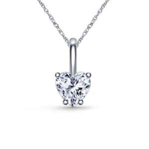 Diamond Heart Pendant Necklace With Prong Set In 14K White Gold