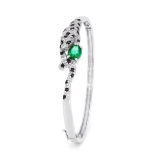 Effy Signature 14K White Gold Emerald and Diamond Panther Bangle, 2.93 TCW