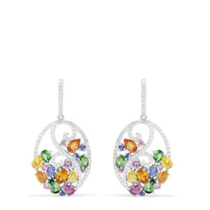 Effy Watercolors 14K White Gold Multi Sapphire & Diamond Earrings, 5.22 TCW