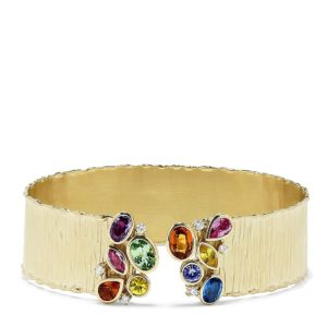 Effy Watercolors 14K Yellow Gold Multi Sapphire and Diamond Cuff, 5.34 TCW