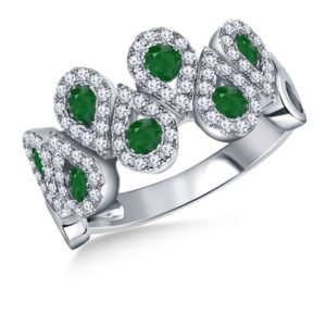 Emerald And Diamond Halo Multi Gemstone Pear Shape Ring In 14K White Gold