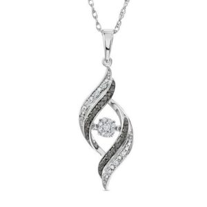 Enhanced Black and White Diamond Flame Pendant in Sterling Silver