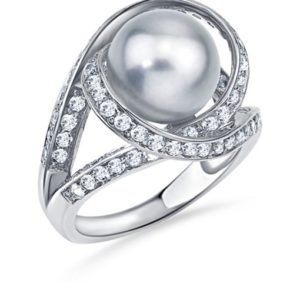 Gray Freshwater Pearl With White Topaz Orbit Ring In Sterling Silver With Rhodium Finish