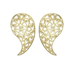 Jaali Gold Paisley Earrings with Clear Cubic Zirconia