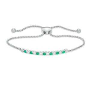 Lab-Created Emerald and White Sapphire Alternating Bolo Bracelet in Sterling Silver