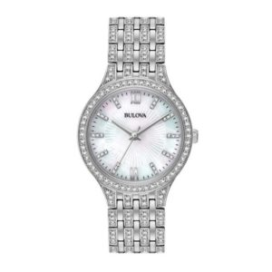 Ladies' Bulova Crystal Accent Watch with Mother-of-Pearl Dial