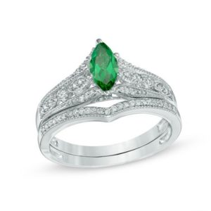 Marquise Lab-Created Emerald and 15 CT. T.W. Diamond Vintage-Style Bridal Set in 10K White Gold
