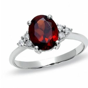 Oval Garnet and Diamond Ring in 10K White Gold