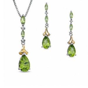Pear-Shaped Peridot and Diamond Accent Pendant and Earrings Set in Sterling Silver and 14K Gold