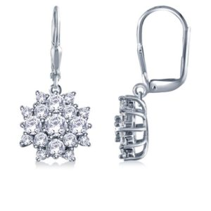 Prong Set Diamond Floral Cluster Earrings In 14K White Gold (2.00cttw.)