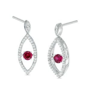 Unstoppable Love Lab-Created Ruby and 15 CT. T.W. Diamond Marquise Drop Earrings in Sterling Silver