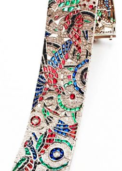 Ruby, Sapphire, Emerald and Diamond Platinum Bracelet, by Oscar Heyman, ca. 1922