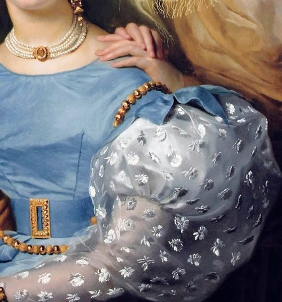 Theodore- Joseph Jonet and his two Daughters by Francois- Joseph Navez, detail